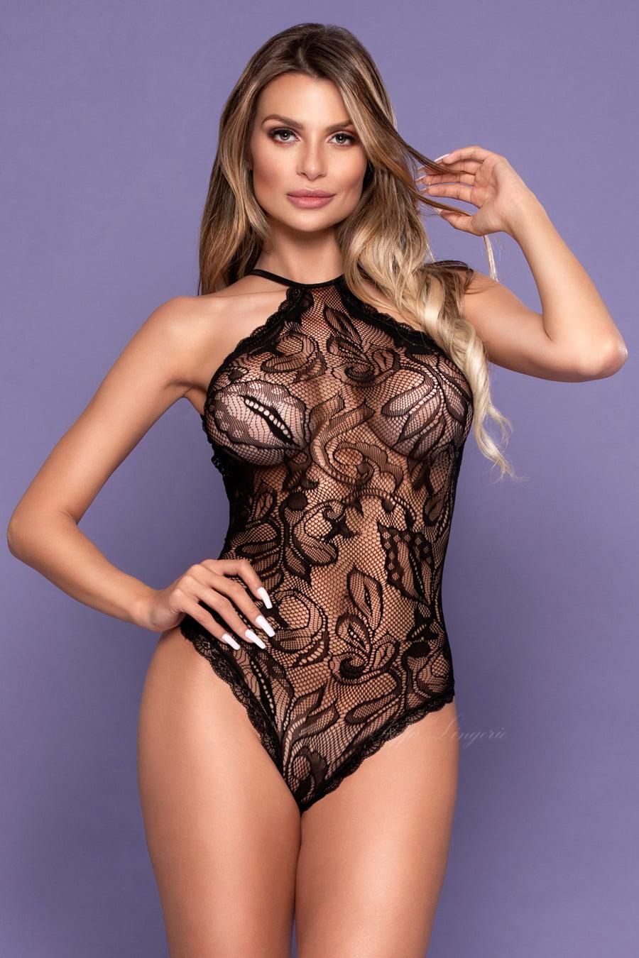 Body Sensual Preto frente única com costas abertas