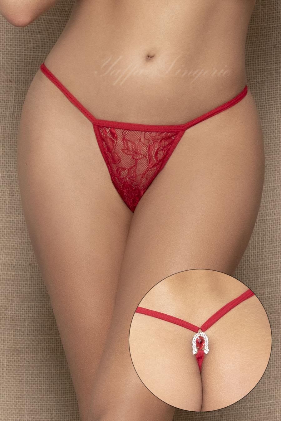 Calcinha fio dental vermelha com strass e jóia atrás - Yaffa