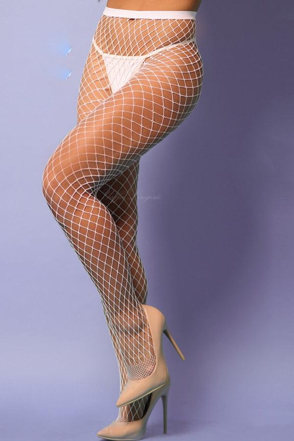 Meia calça arrastão branca com trama média