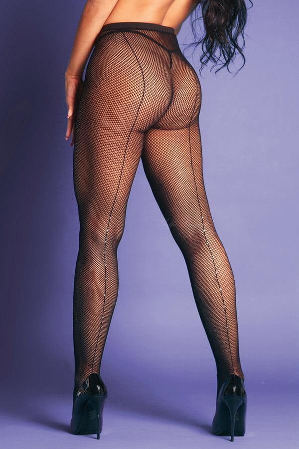 Meia calça arrastão com strass e linha nas costas