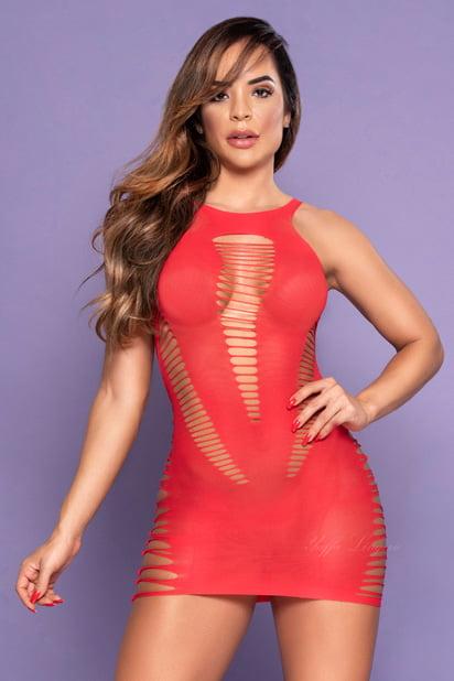 Mini Vestido sensual com desenho rasgado vermelho - Yaffa