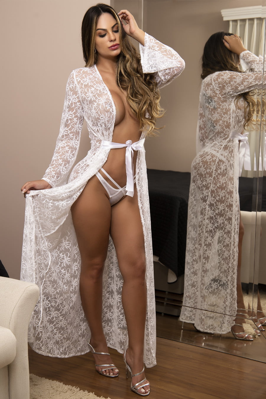 Robe longo branco em rendão