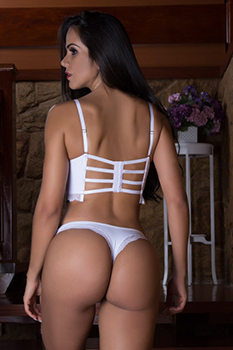 Conjunto cropped Strappy-Bra rendado branco