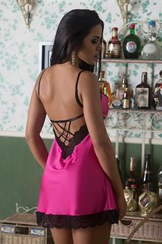 Camisola sexy rosa pink em cetim e renda trabalhada