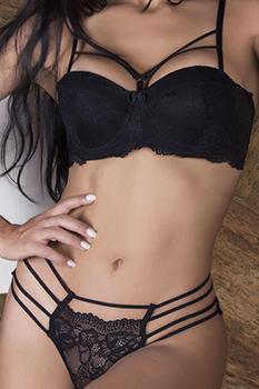 """Conjunto """"strappy bra"""" meia taça rendado preto"""