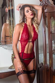 Body decotado deluxe vermelho com ligas