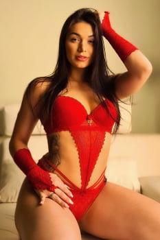 Body decotado sexy em renda Vermelho