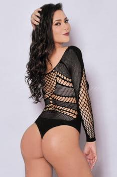Body Manga Longa Arrastão Preto com Decote - Bodystocking Sensual - Yaffa