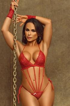 Body sensual em renda vermelho com tiras + Luvas