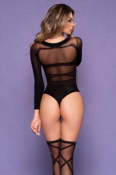 Body sensual manga longa com meia 7/8 - Yaffa