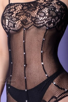 Bodystocking Sensual Espartilho Arrastão com Strass - Yaffa