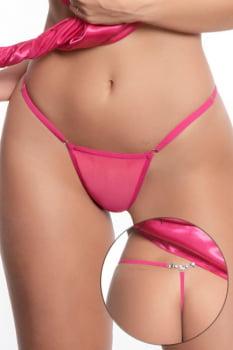 Calcinha fio dental pink em tule com pingente de pérola - Yaffa