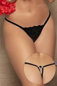 Calcinha em renda preta fio dental com jóia e strass - Yaffa