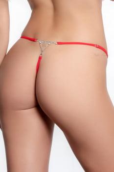 Calcinha fio dental em renda vermelha com pingentes strass - Yaffa