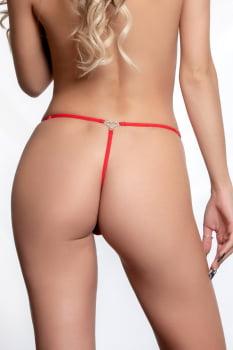 Calcinha fio dental vermelha com pingente de coração - Yaffa