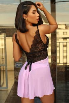 Camisola Maria Antonieta rosa e preta