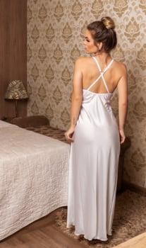 """Camisola sensual longa """"off white"""" com fenda lateral"""