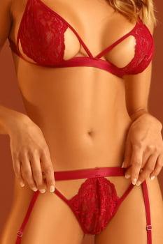 Conjunto sexy em bojo em renda desejo com persex