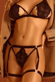 Conjunto sexy em bojo em renda preto com persex