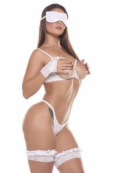 Conjunto Sexy em renda branca + Venda + Luvas + Persex
