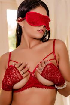 Conjunto Sexy em renda  vermelha + Venda + Luvas + Persex