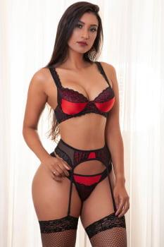 """Conjunto """"Vermelho"""" em tecido acetinado e renda + Cinta liga + Meia 7/8"""