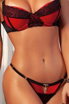 """Conjunto """"Vermelho"""" em tecido acetinado e renda preta"""