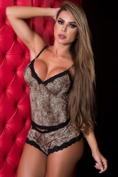 Lingerie Short Doll com estampa Animal Print