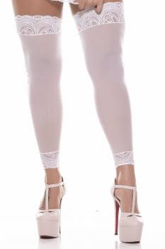 Meia 7/8 branca com renda com corte no tornozelo