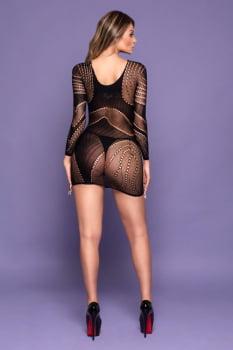 Mini Vestido arrastão manga longa - Yaffa