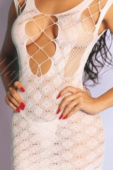 Mini Vestido - Bodystocking Sensual Arrastão Branco com Mangas - Yaffa