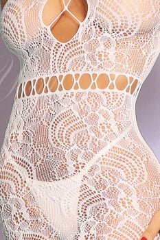 Mini Vestido - Bodystocking Sensual Arrastão Branco - Yaffa