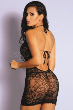Mini Vestido Sensual Arrastão Preto sem Mangas - Yaffa