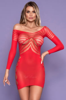 Mini Vestido sensual manga longa com desenho rasgado vermelho - Yaffa
