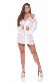 Robe curto em cetim branco